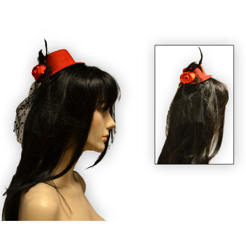 Šeširić s ružom - ukras za kosu