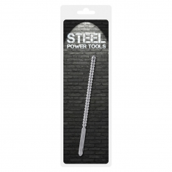 Steel Power Tools - Dip Stick Ribbed - penis plug, 10 mm